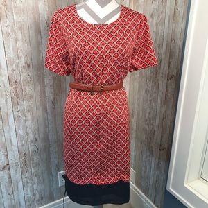 NWT Limited red w/blue scallop trim dress sz XL